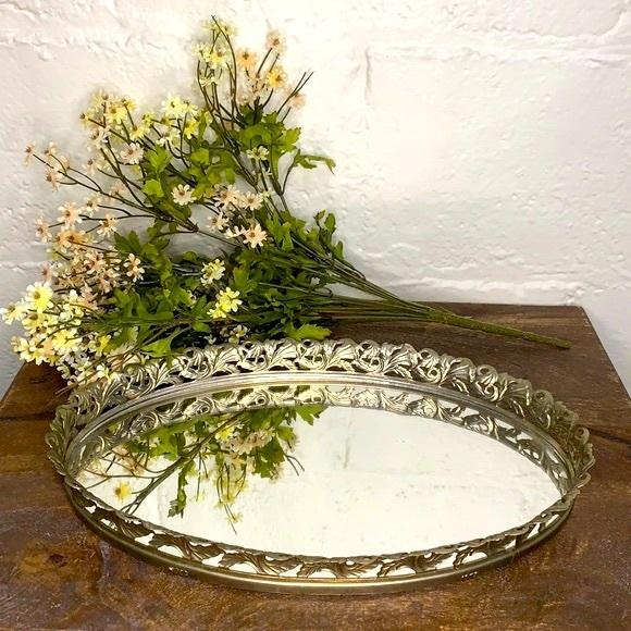 VTG Mirrored Silver Filigree Oval Vanity Tray